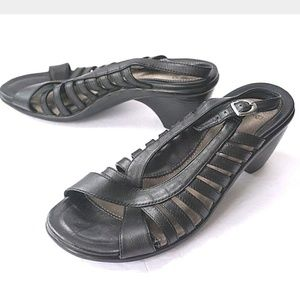 Dansko black strappy sling back sandal heels 7 L2